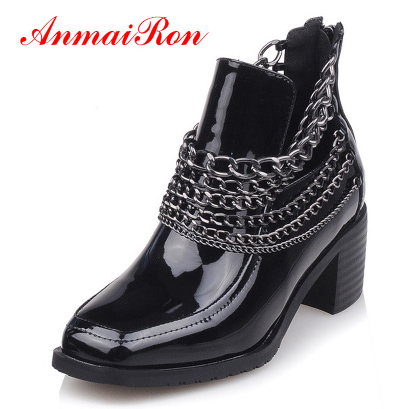 ANMAIRON Chains Charms Ankle Boots for Women High Heels Zippers Platform Winter Warm Boots Shoes Woman Black Motorcycle Boots anmairon winter autumn shoes woman low heels ankle boots women nubuck zipper buckle platform short boots black