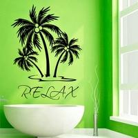 Relax Words Wall Decals Palms Tree Vinyl Wall Stickers Art Design Waterproof Bathroom Wall Decals Decor