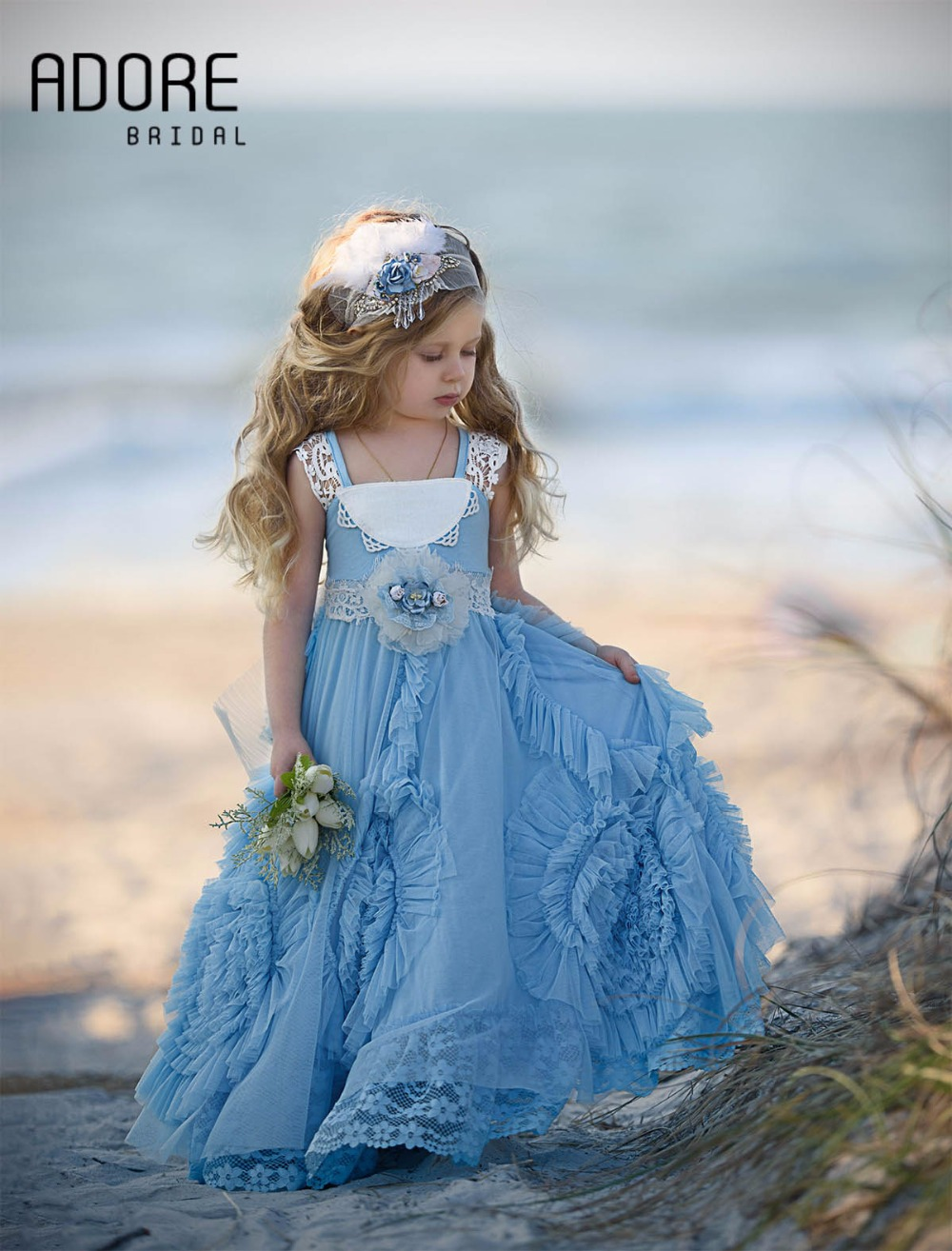 New lovely flower girl prom dress with heavily gathered swirls ...