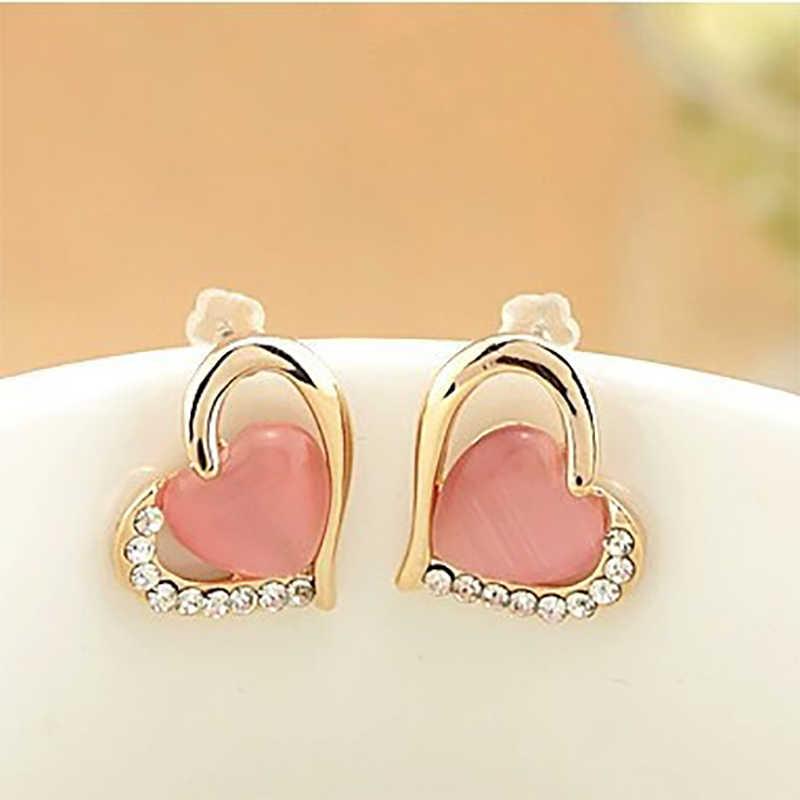 Boucles d'oreilles coeur cristal opale strass creux amour boucles d'oreilles pour femmes cubique zircone charme femme oreille bijoux