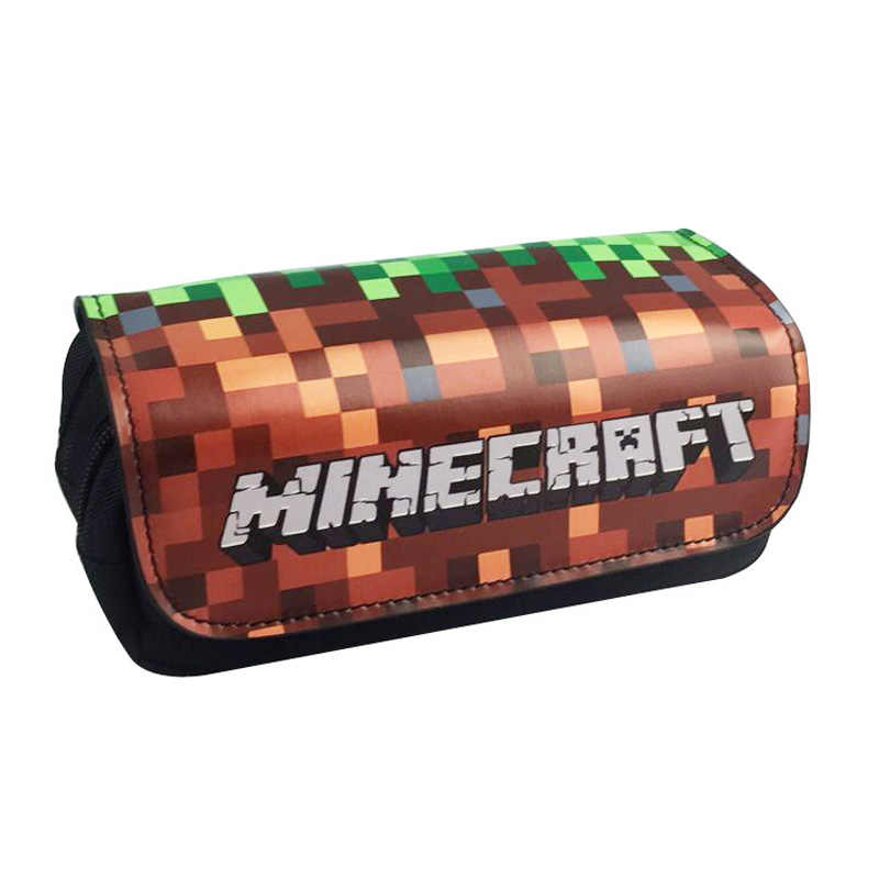 Cartoon OW Games Minecraft Creeper Plaid Children Teenager Student Pencil Case Box Pen Bag Cosmetic Makeup Change Purse Bag