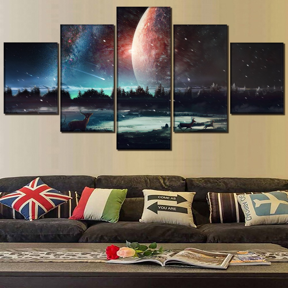 5 Panel Animal Deer Wall Art Home Decorative Poster Canvas HD Printed Abstract Landscape Meteor Shower Painting Modular Picture