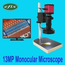 Efix HDMI VGA 13MP монокулярный микроскоп HD Цифровая камера+ C крепление объектива+ 56 светодиодный светильник-кольцо+ подставка для ремонта телефона инструмент для пайки