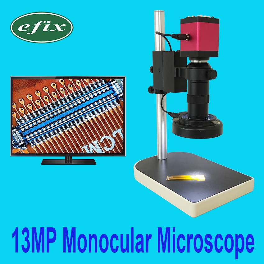 efix HDMI VGA 13MP Monocular Microscope HD Digital Camera + C Mount lens +56 LED Ring Light + Stand Repair Phone Soldering Tool microscope set hd 13mp hdmi vga industrial microscope camera 100x c mount lens 56 led ring light stand holder for phone repair