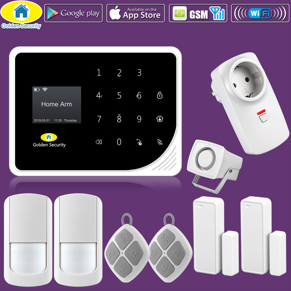 Golden Security DIY KIT S5 WIFI GSM Alarm Systems Security Home Automation Socket APP Control Sensitivity PIR Motion Sensor smart home automation wireless power socket for security alarm g90b wifi gsm alarm system app control
