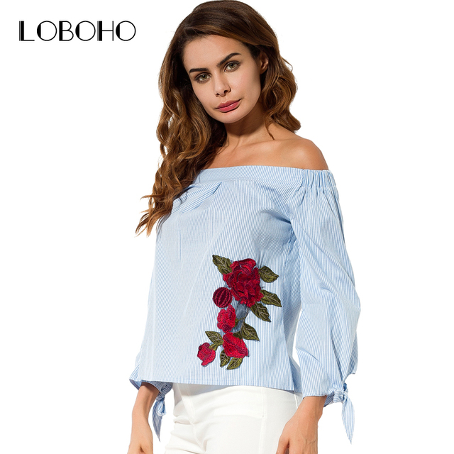 Off Shoulder Blouse Embroidery Flowers Fashion 2017 Autumn Tops Women  Shirts Slash Neck Casual Blue Striped