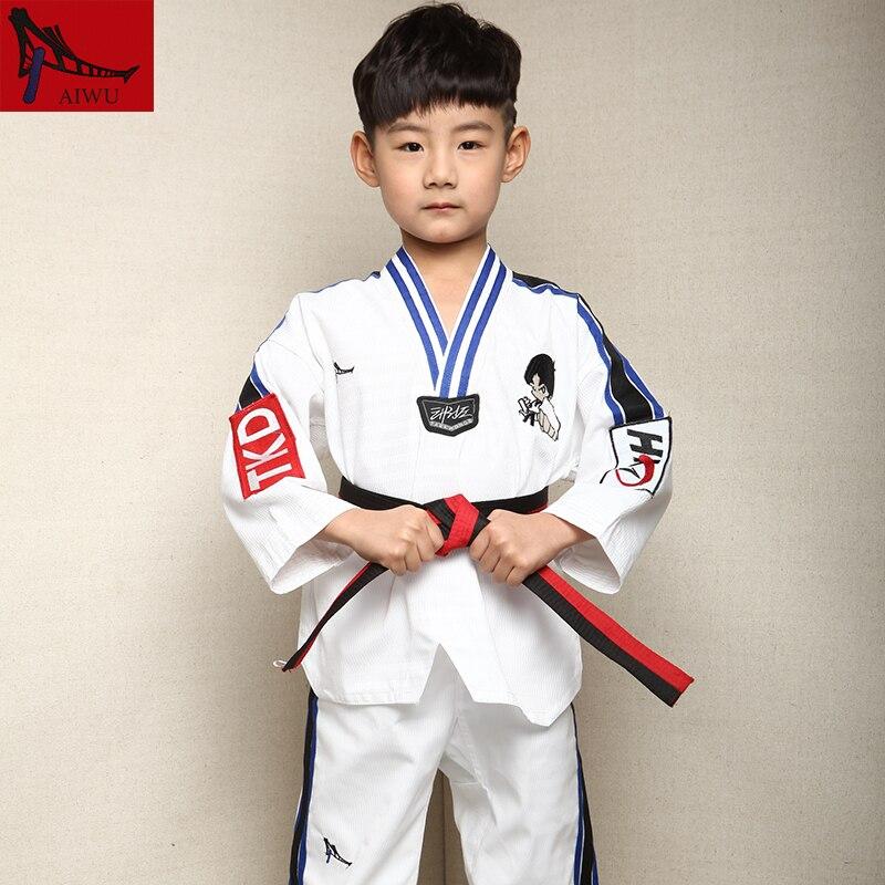 Hot Sale  Tae Kwon Do Dobok Clothes Child Taekwondo Uniform  Size XXXS-M With  Boy Embroidery