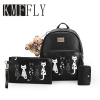 KMFFLY Five CAT Backpacks For Teenage Girls School Bags Softback Women Leather Backpack New 2017 Sac