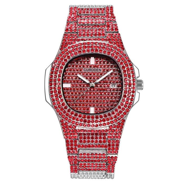 Роскошные часы с бриллиантами для мужчин и женщин, часы в стиле хип-хоп, мужские кварцевые часы, ремешок из нержавеющей стали, деловые наручные часы для мужчин - Цвет: Красный