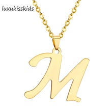 LUXUKISSKIDS Hot Sale Initial Alphabet Necklaces Pendants Gold Color Stainless Steel Choker Initial Necklace Women Jewelry