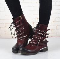 Западный Стиль реального Женские ботинки из кожи квадратный носок черный/цвет красного вина Botas женские пикантные rivels Серебряной Пряжкой З