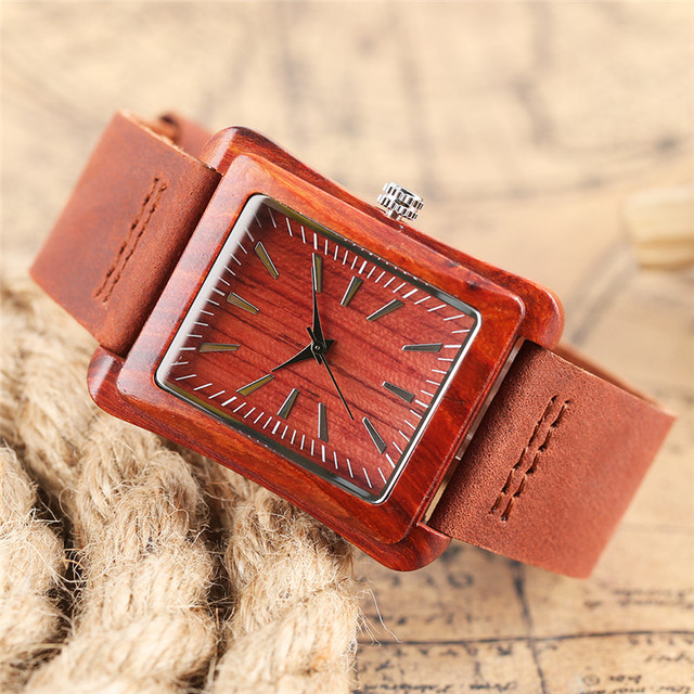 Creative Nature Wood Women Watch Rectangle Dial Leather Strap Analog Ladies Wrist Watches Wooden Fashion Sport Clock With Bag