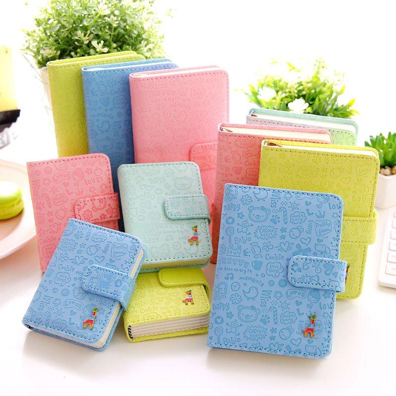 Lindo cuaderno de cuero de la PU calendario libro diario planificador cuaderno Kawaii papelería regalo de los niños libro de composición
