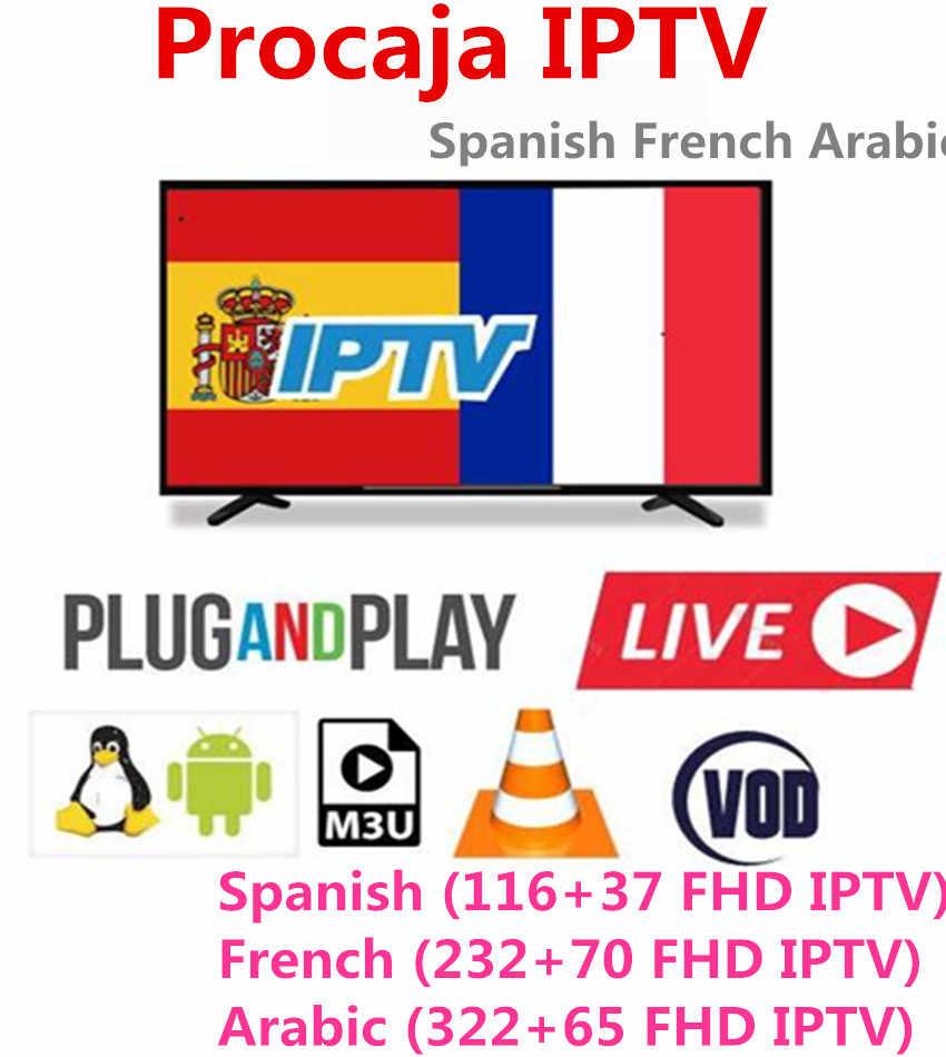 Procaja IPTV испанский M3U подписки Французский Испанский Арабский абонемент для Европейский Франция IP ТВ Smart Android ТВ коробка enigma2