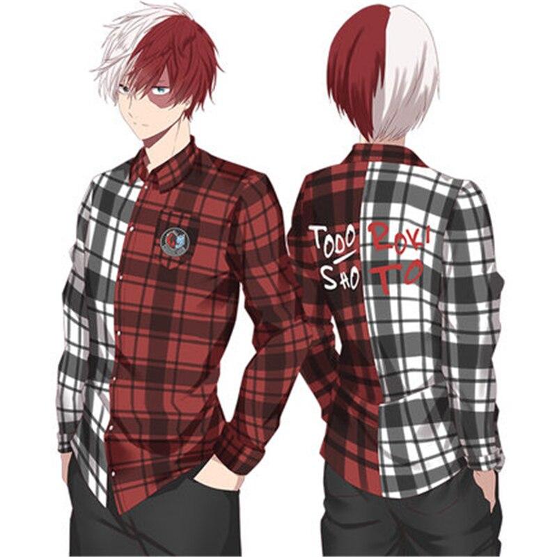 Men Plaid Shirt Boku No Hero Academia Cosplay Costumes Midoriya Izuku Bakugou Katsuki Todoroki Colorblock Cotton Plaid Shirt