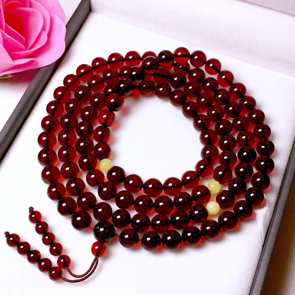 Certificate 6.7mm Genuine Natural Blood Amber 4 Laps Bracelet Women Gift Stretch Crystal Stretch 108 Beads Bracelet Jewelry