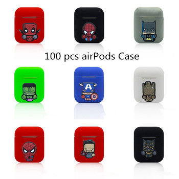 100pcs Cartoon Wireless Bluetooth Earphone Case For Apple AirPods Silicone Charging Headphones Cases for iPhone 7 8 Cover