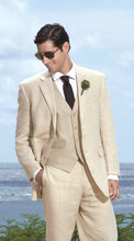 beach wedding tuxedo  for groom wear high quality beige custom made suit 3 piece suit 2016