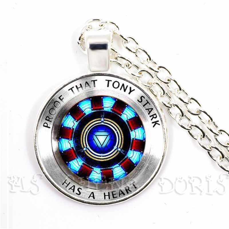 Glass Cabochon Pendant Marvel Iron Man Tony Stark Arc Reactor Necklace The Avengers 4 Endgame Quantum Realm Film Souvenir