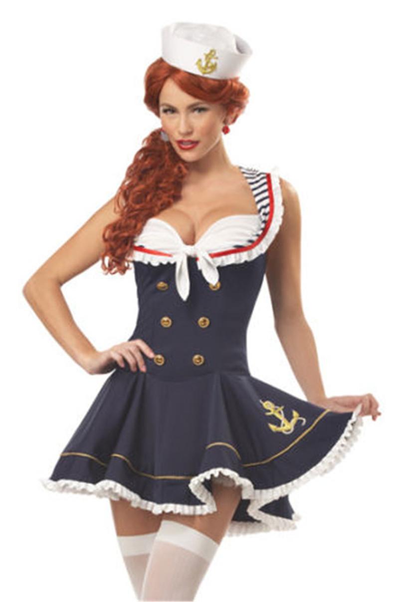 vocole women halloween sexy nautical navy sailor pin up stripe cosplay costume mini dress fancy. Black Bedroom Furniture Sets. Home Design Ideas