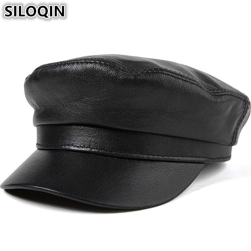 SILOQIN High Quality Flat Cap For Men Women Genuine Leather Hat Sheepskin Army Military Hats Autumn Winter Brands Leather Caps