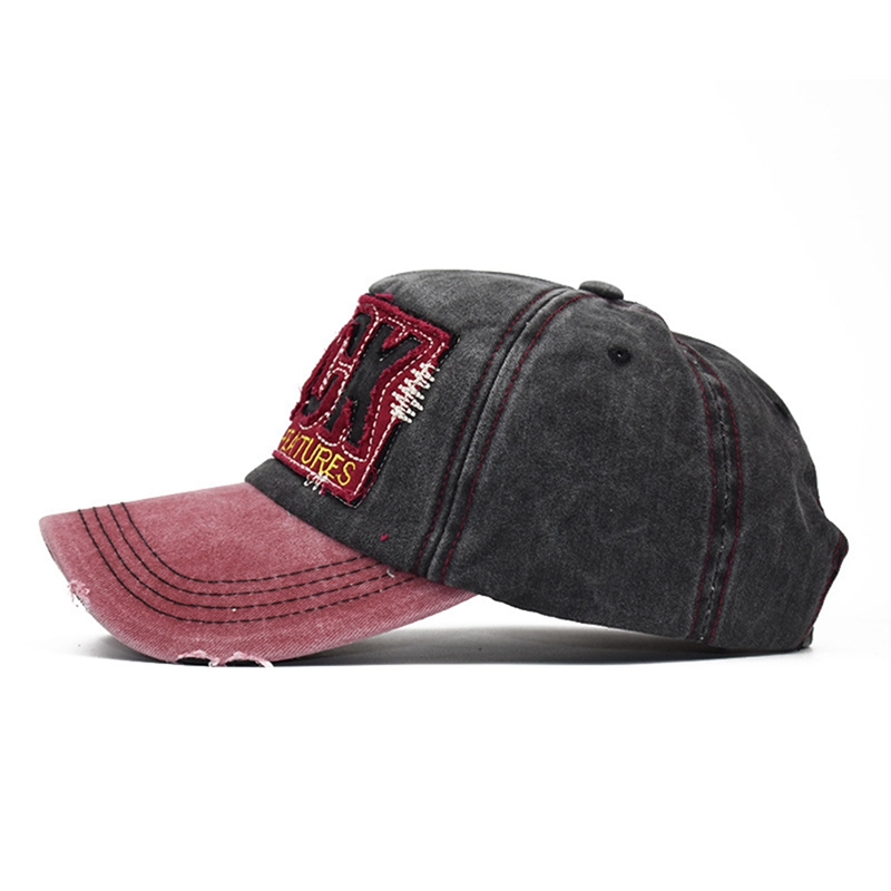 Unisex Sports Cap Retro Style Patchwork Washed Cotton Hip Hop Hat Headwear Baseball Caps Wear with Adjustable Back Closure in Men 39 s Baseball Caps from Apparel Accessories