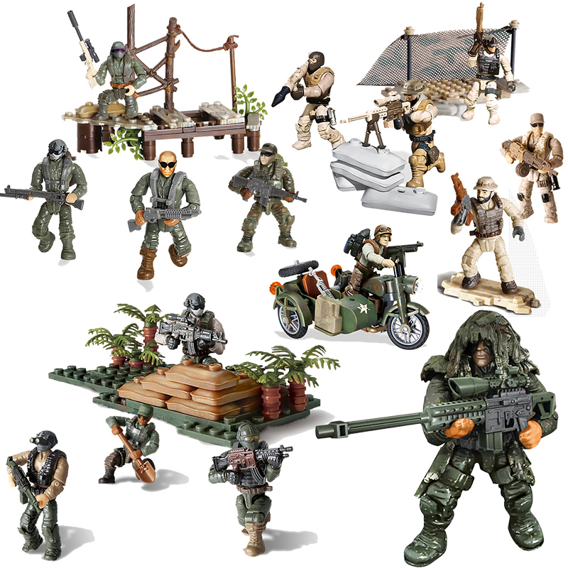 Compatible Legoed PUBG Call Of Military Duty Mini SWAT Soliders Figures Army Weapons Guns Sets Model Building Blocks Bricks Kit