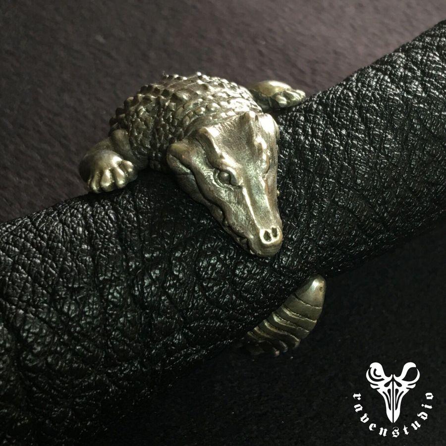 Оригинальный дизайн Аллигатор 925 пробы Серебряное Кольцо Индивидуальные коллекции Классический кольцо в виде крокодила ручной работы