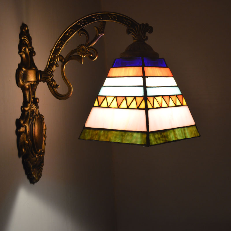Tiffany Wall Lamp Spanish Style Stained Glass Wall Sconce Bathroom ...