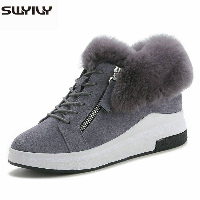 SWYIVY Sneakers Shoes Woman Winter Warm Cotton Padded Wedge Casual Shoes 2019 New Platform Sneakers Increased Chunky Sneaker Fur