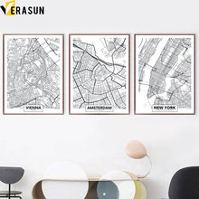Black White Vienna Amsterdam New York City Map Nordic Posters and Prints Wall Art Canvas Painting Wall Pictures for Living Room amsterdam city map