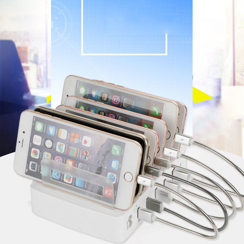 Image 5 - QC 3.0 USB Charger Station 5 Port USB Charging Station Dock  Desktop Stand Multi Port Charger for Phone iPhone 7 iPad SamsungMobile  Phone Chargers