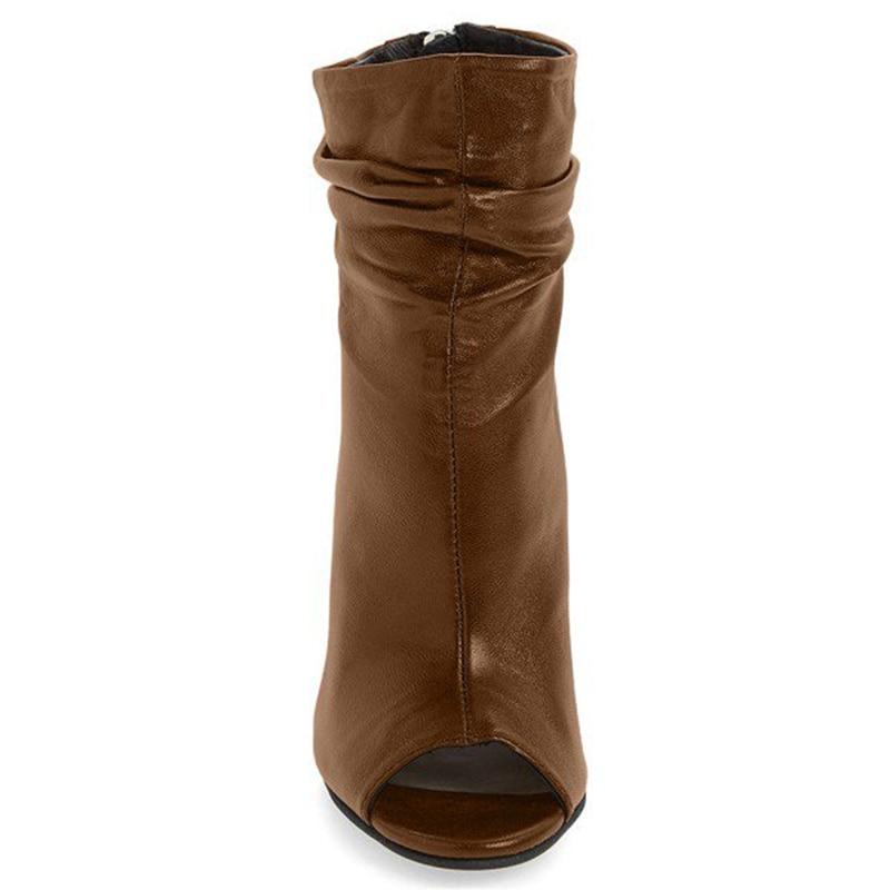 Peep De Fourrure Slouch Cheville Haute 16 Chunky Talons Brown Fsj Femmes Noir Toe Zipper Grand Taille Talon Chaussures Bottes Mode Automne PxISPqw4
