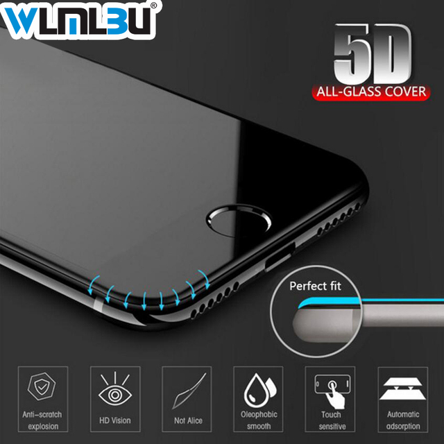 5D Curved Edge New Full Cover Tempered Glass For iPhone 6 7 6S Plus Screen Protector For iPhone X 8 Plus 7 6 s Toughened Film