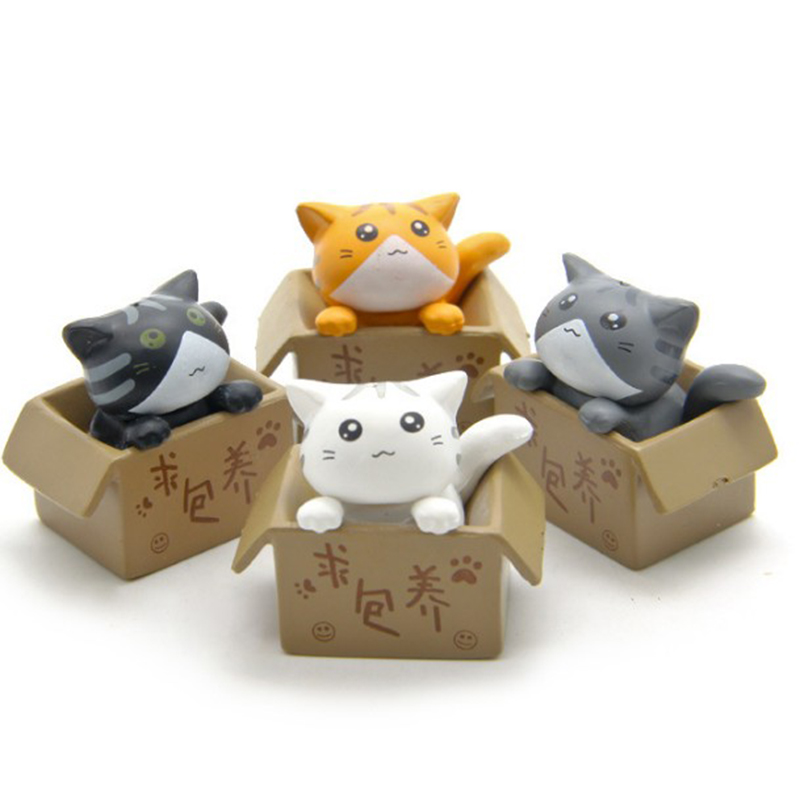 1 Pc Adorable Seeking Nurturing Cat PVC Action Figures Toys  Cartoon Animal DIY Model Christmas Gifts For Kid