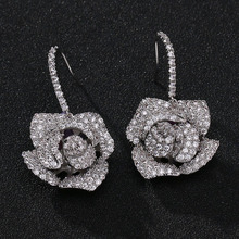 S925 Silver Rose Earrings Korean female flowers Earrings all-match fashion simple personality