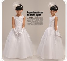 Lace 2017 Flower Girl Dresses For Weddings A-line Cap Sleeves Appliques Beaded Bow First Communion Dresses For Little Girls