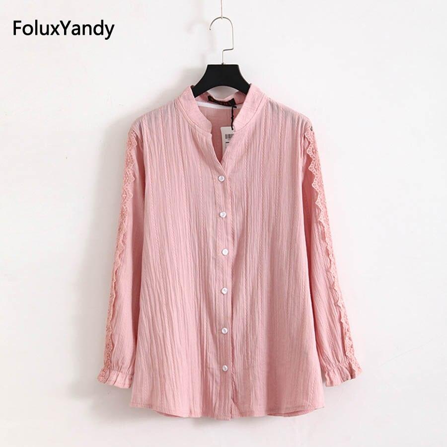Pink Lace Long Sleeve   Blouse   Plus Size 3 4 5 6 XL Casual V-neck Girl   Blouse     Shirt   White Black KKFY1165