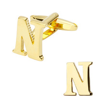 New high quality brass plated letters N Cufflinks Mens Jewelry shirt cuff Cufflinks twins English letters
