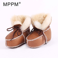 FUR123 Winter Baby First Walkers Infants Warm Shoes Real Sheepskin Girls Baby Booties Leather Boy Baby