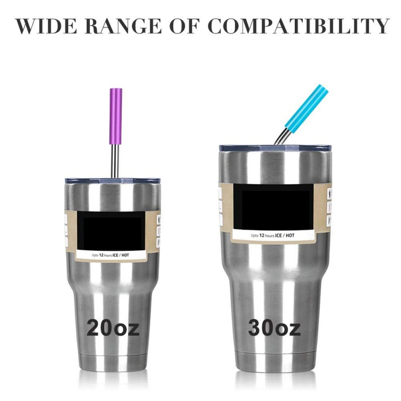 geekoplanet.com - Stainless Steel Straws with Cleaning Brush and Silicon Covers