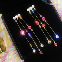 Fashion New Long Crystal Tassels Earrings Feminine Temperament Korean Personality Bagel Bohemian trend earrings