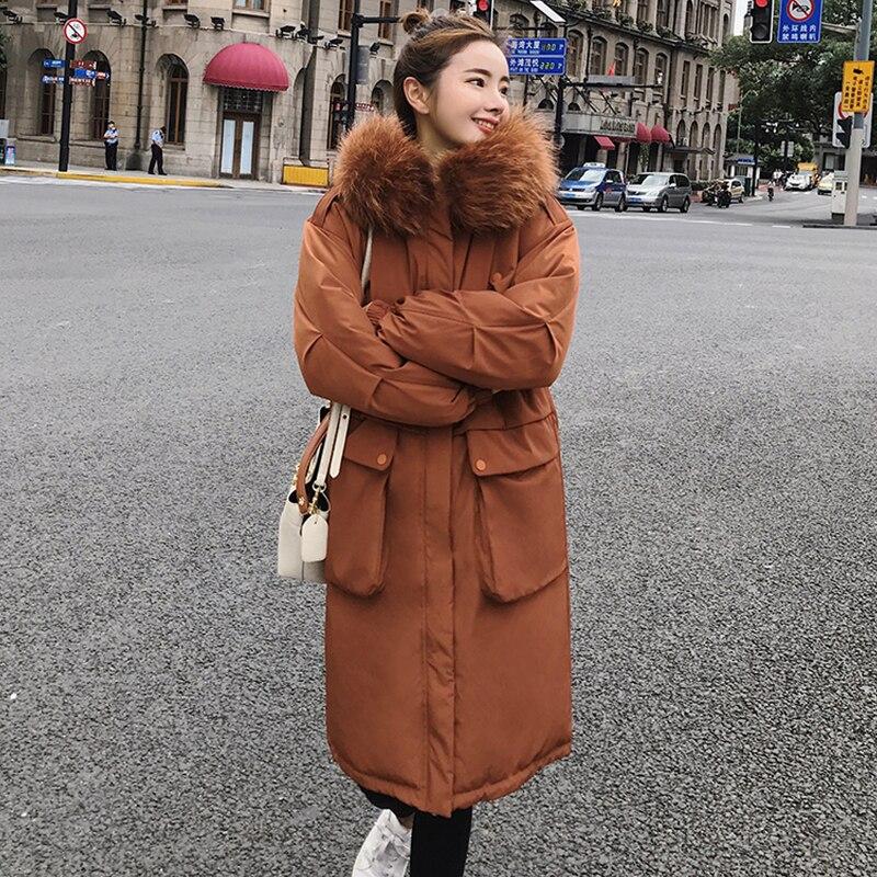 Neue Ankunft 2019 Winter Jacke Frauen Mit Fell Kapuze Übergroßen Mode Outwear Mantel Lange Gepolsterte Hohe Qualität Warmen Parka Frauen-in Parkas aus Damenbekleidung bei  Gruppe 2