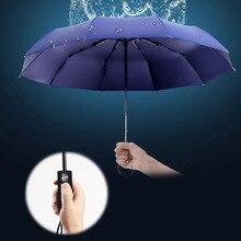 hot deal buy automatic folding umbrella  210t nylon 10-rib strong windproof unbreakable heavy-duty travel  wide outdoor handle rain umbrellas