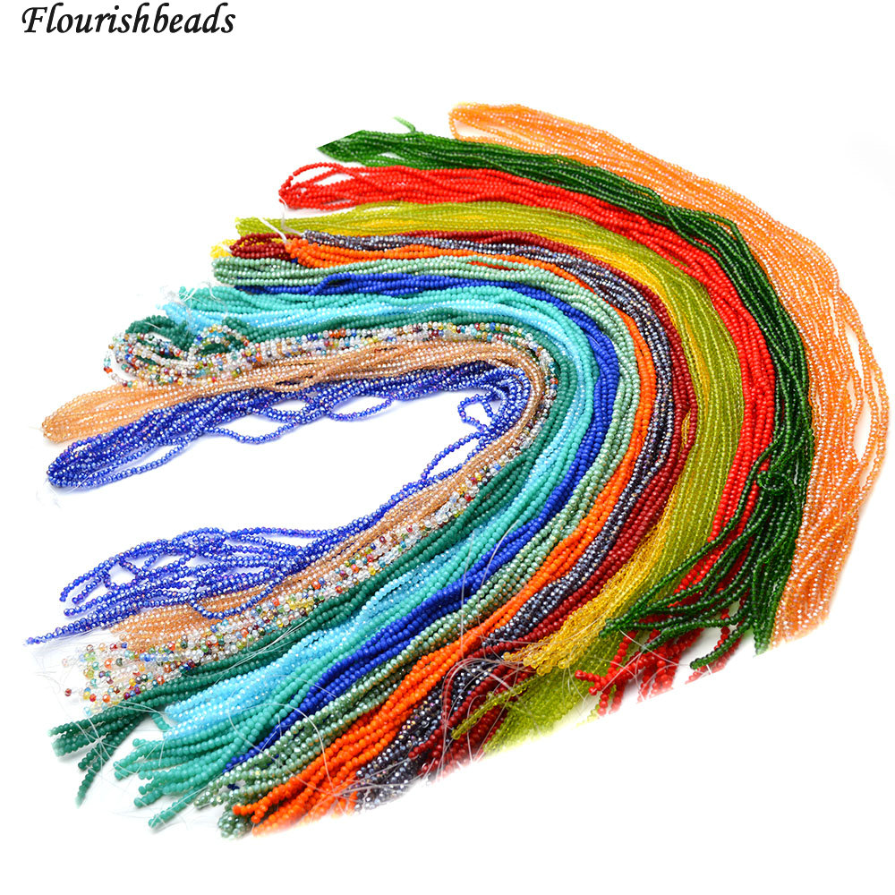 Various Color 2mm Faceted Glass Crystal Rondelle Spacer Loose Beads 10 strands per lot ...