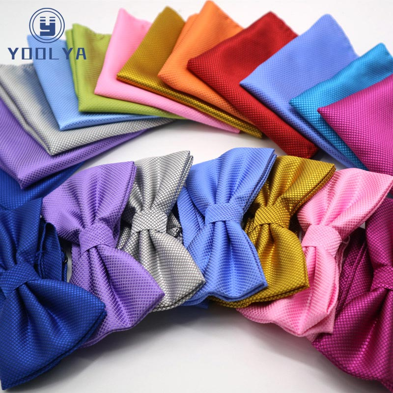 Luxury 2 PCS Mens Solid Color Pocket Square Bows Tie Set Adjustable Handkerchief Bowtie Sets Wedding Party Plaid Check Hanky Lot