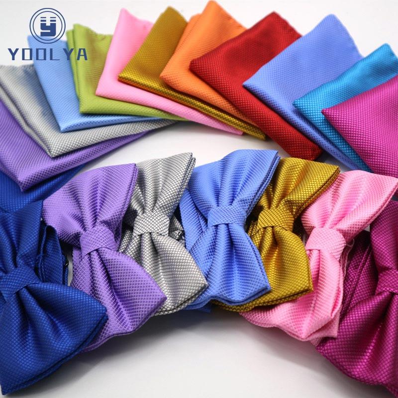 Luxury 2 PCS Mens Solid Color Pocket Square Bows Tie Set Adjustable Handkerchief Bowtie Sets Wedding Party Plaid Check Hanky Lot