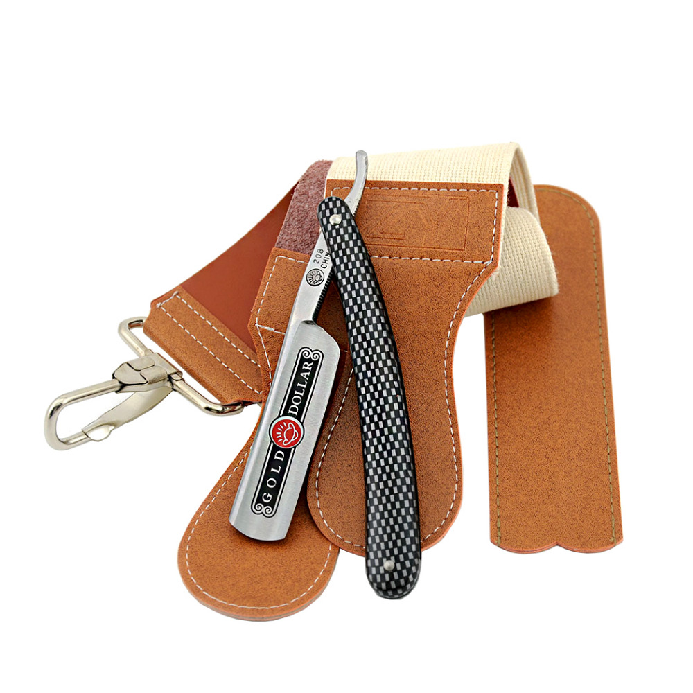 Gold Dollar 208 Straight <font><b>Razor</b></font> Cut Throat Shaving Folding Knife+ Leather Sharpening Belt Shaver <font><b>Razor</b></font> Strop For Men Shave Beard