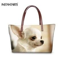 INSTANTARTS, модные женские большие сумки-тоут, 3D, животные, собаки, чихуахуа, с принтом, сумки для женщин, для покупок, брендовые, дизайнерские, пляжные сумки