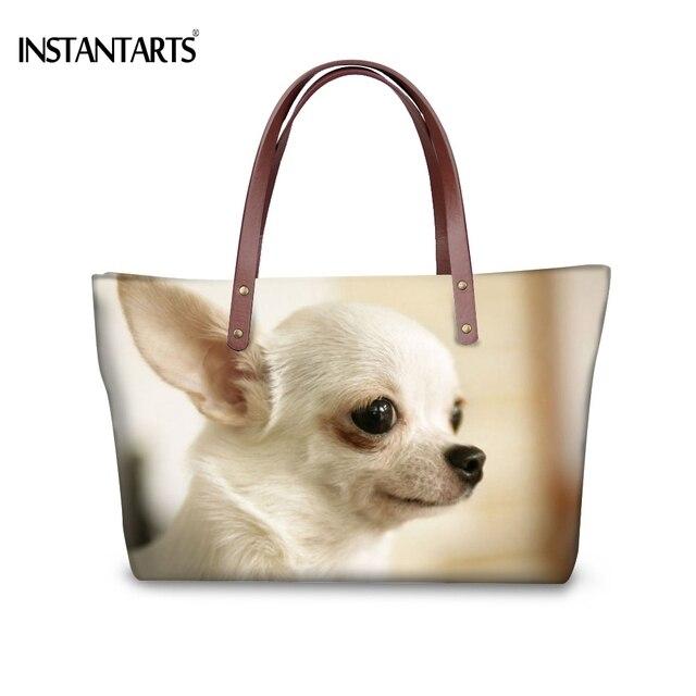 Instantarts Fashion Women Large Tote Bags Animal Dog Chihuahua Printed Handbags For Female Ping Brand